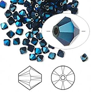 Swarovski Crystal 5328 4mm XILION Metallic Blue 2X Bicones - 48 Pack