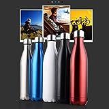 Moliies 750ml Botella de Agua Deportiva con Aislamiento al vacío Taza de Viaje de matraz de vacío Reutilizable de Doble Pared de Acero Inoxidable - Negro - 750ML