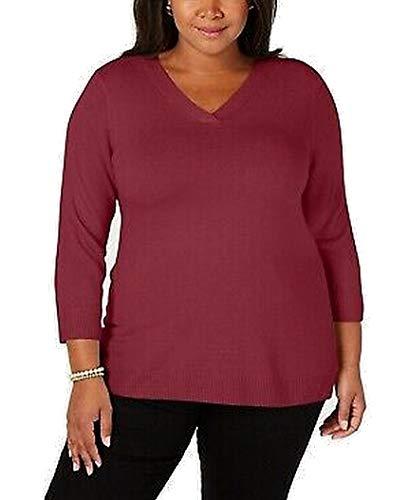 Karen Scott Womens Plus Size Luxsoft V-Neck 3/4-Sleeve Sweater (Merlot, 3X)