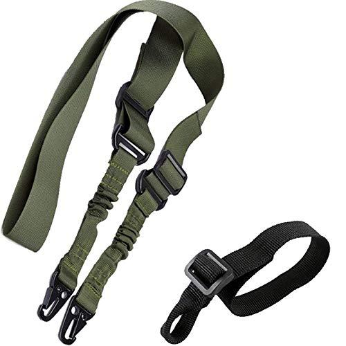 RimFly Correa Ajustable Airsoft para Rifle Pack 2 Táctica Point Sling 2 Puntos Multiusos Armas Cuerda Paintball Cinta de Sujeción Paracord Sistema de Hombro Elastico Caza y Deportes Aire Libre
