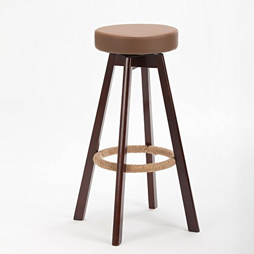 LJHA Tabouret pliable Tabouret haut créative de bois solide / chaise simple de barre / chaise de restaurant / tabouret de cuisine de tissu (8 couleurs disponibles) chaise patchwork ( Couleur : A- Brown , taille : 65cm )