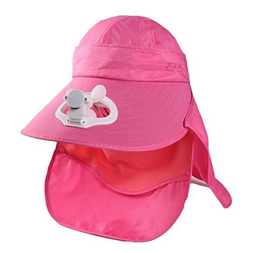 Oulian Gorra de Visera con Ventilador de Carga USB para Mujer de Verano con Cubierta de Cuello Frontal Gorra de Béisbol de Red con Ventilador para Viajes de Campamento Al Aire Libre - Rosa