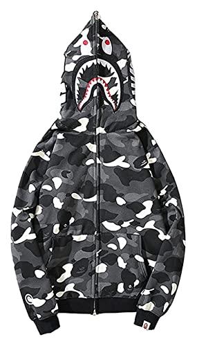 Lanrui Sudaderas con Capucha de Moda for Hombre Cabeza de tiburón Cabeza Delgada Cuadro 3D Cremallera Camuflaje Camuflaje Sudadera con Capucha for Adolescentes (Color : 0 Black White, Size : M)