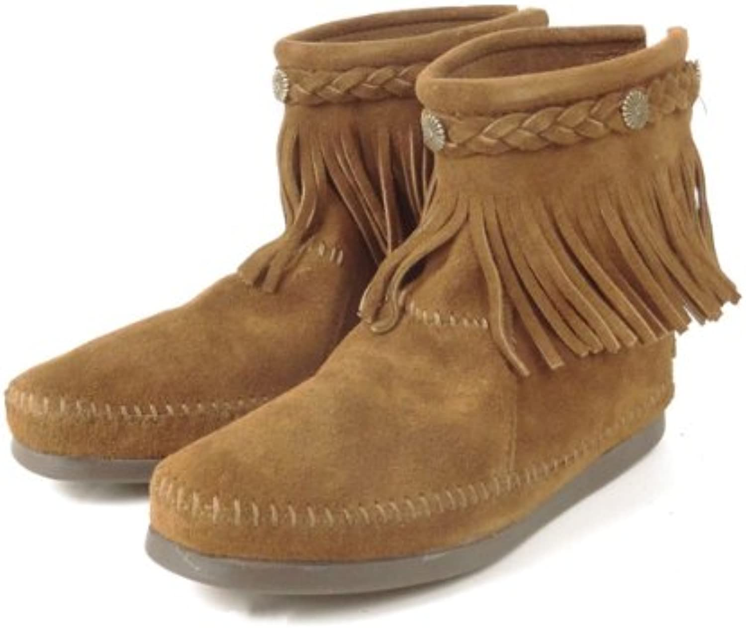 Minnetonka] High Top Back Zip Ladies Moccasin Boots 6 (22.5-23.0cm) 293 Dusty Brown