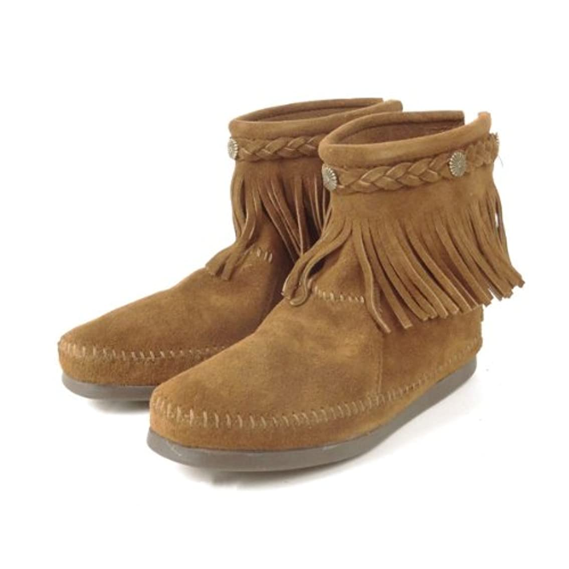 飢えたバケットスタジオMINNETONKA (ミネトンカ) バックジップ フリンジ ショートブーツ Hi Top Back ZIP Boot [並行輸入品] #293/DUSTY BROWN/ダスティブラウン US5