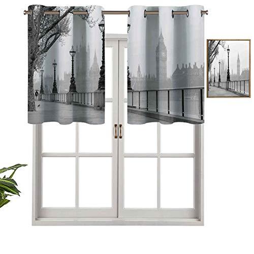 Hiiiman Panel de cortina con ojales de alta calidad Big Ben de Walking Way por Thames River con imágenes de faroles bajo la lluvia, juego de 2, 106,7 x 60,9 cm para decoración de interiores