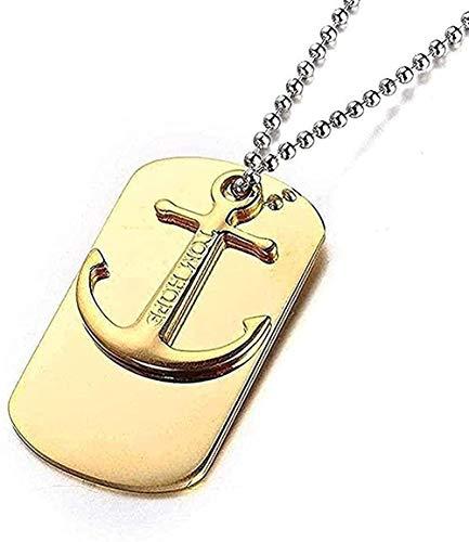 Collana Gioielli in acciaio inossidabile Collana uomo Uomo Soldato Collana americana con ancoraggio Ciondolo in acciaio al titanio Oro bianco Regalo per donna Uomo Ragazza Bambini