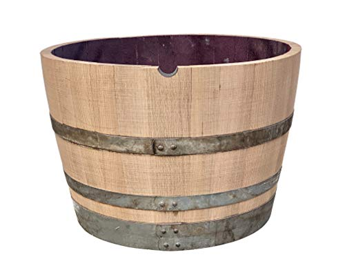 Tropictrees Weinfass halbiert aus Eichen-Holz geschliffen - Pflanzkübel - Holzfass - Miniteich (D70 H47 cm 112,5 Liter)
