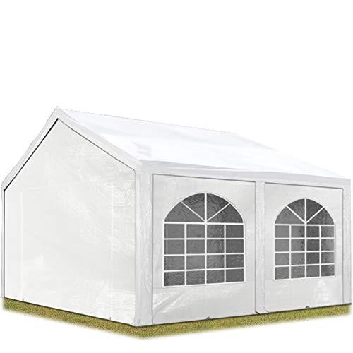 TOOLPORT Hochwertiges Partyzelt 3x4 m Pavillon Zelt ca. 240g/m² PE Plane Gartenzelt Festzelt Wasserdicht weiß