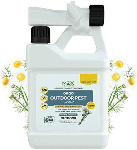 mdxconcepts Ready-to-Use Outdoor Pest Control Spray with Natural Essential Oils - Mosquito and Insect Repellent, Treatment, and Killer - Plant-Based - Safe for Pets, Plants, Kids - 32 oz