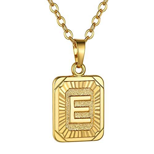 GOLDCHIC JEWELRY Collana con Ciondolo Quadrato e, Piccola Etichetta Iniziale per Donna