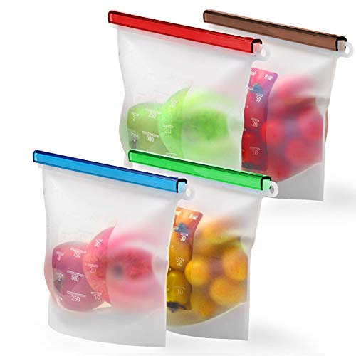 Reusable Silicone Food Storage Bag Set Kiva.World - 4 QUART Reusable Produce Sandwich Bags - Freezer Bags with Airtight Seal - Hermetic Food Bag - Cooking Sous Vide Bags Clear - Fresh Lunch & Snack