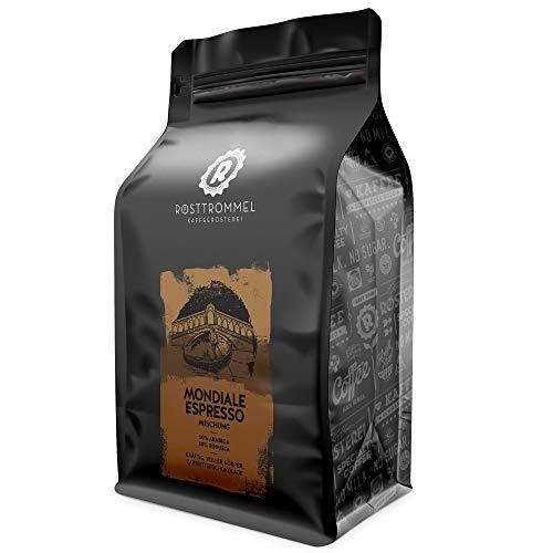 Espressobohnen MONDIALE - zartbitter - kräftig Crema - handgeröstet -  ideal für Vollautomat & Siebträger