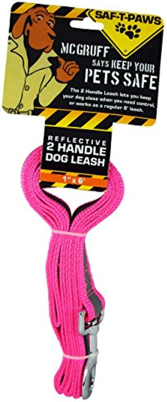SAFTPaws McGruff Large 2 Handle Reflective Dog Leash Neon Pink
