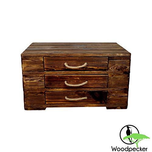 """Woodpecker Holz Couchtisch mit 3 Schubladen- 67x47x37 cm in Dunkelbraun- in Handarbeit hergestellt und auf """"Used-Look"""" bearbeitet- Kommode aus Holz-vielfältige Verwendung, Stapelbar, erweiterbar"""
