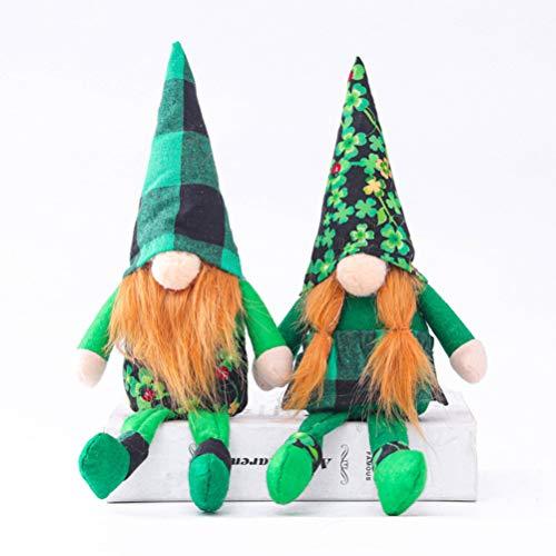 PRETYZOOM 2 St. Patricks Day Wichtel, Plüsch, gesichtslose Puppe, Dekorationen, irischer Kobold, schwedischer Zwerg, Ornament, Elfen-Figur, Geschenke, sitzende Puppen Ornamente