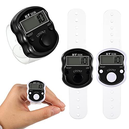 2 Contadores Electrónicos de Dedos Contador Electrónico LED de Dedos de 5 Dígitos Contador Digital Reiniciable de Dedos Contador Manual de Vueltas de Cuenta Contar con Anillo de Mano