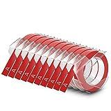 Dymo Cinta de Estampación Autoadhesiva de 9Mm X 3M, de Color Blanco Sobre Fondo Rojo, Paquete de 10