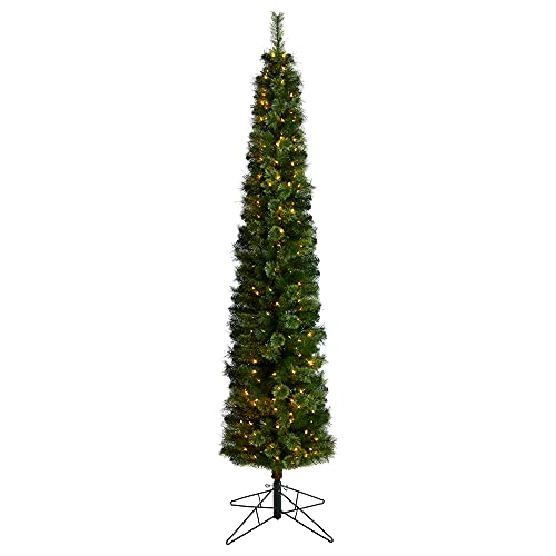8ft. Green Pencil Artificial Christmas Tree with 200 Clear (Multifunction) LED Lights and 402 Bendable Branches