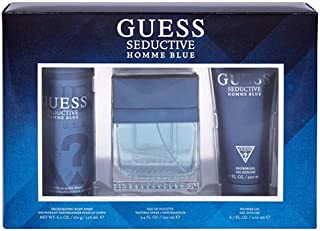 GUESS Seductive Homme Set 3Pcs Blue Eau De Toilette For Men, 100 ml