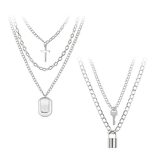 5 Layer Eboy Chain Necklace - Statement Lock Pendant Necklace Sliver Set Egirl Long Multilayer Chains Punk Choker for Men Women-GUN109 Silver-A