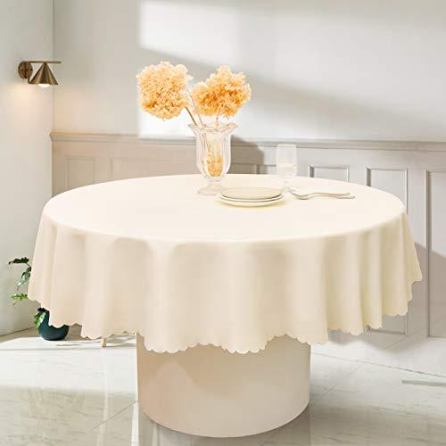 RUIBAO HOME - Mantel redondo de poliéster impermeable y lavable para mesa de comedor, cocina y al aire libre (70 pulgadas, crema)