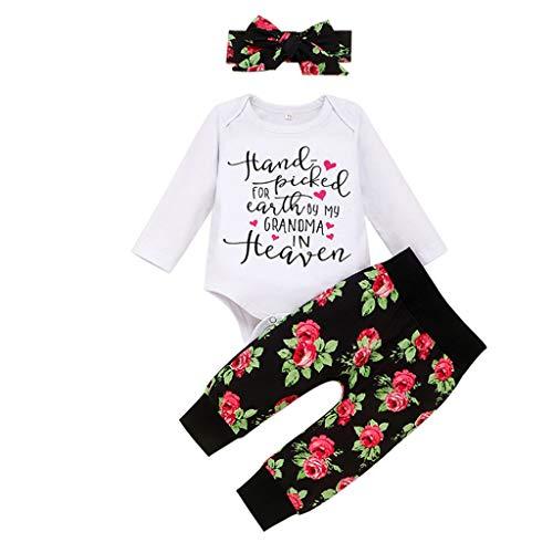 DWQuee ❤️ Babyspielanzug aus Baumwolle, Winter Baby Mädchen Valentine Brief drucken Blume Hosen Haarband Outfits (3-24 Monate)