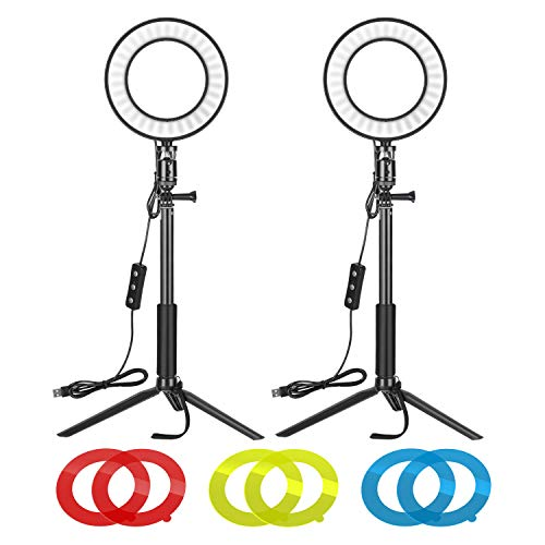 Neewer Video Conference Lighting Kit for Zoom Call Meeting/Self Broadcasting/Remote Working/YouTube/TikTok Video/Live Streaming: 2-Pack 6-inch Dimmable LED Ring Light with Tripod Stand & Color Filter