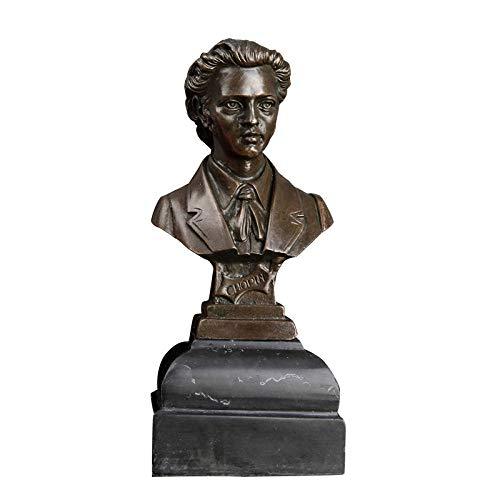 JYJYJY Escultura Figuritas Decorativas Busto De Fundición De Bronce Figura Famosa Estatuilla con Base De Mármol