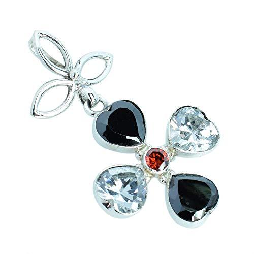 Colgante de piedras preciosas de cristal, ónix negro, corte facetado, regalos para esposa, plata de ley 925, hecho a mano FSJ-3262