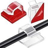 60 unidades de mini cables para exteriores con cintas adhesivas, pinzas decorativas autoadhesivas, ganchos de alambre para cadenas de luces (pequeños, transparentes)