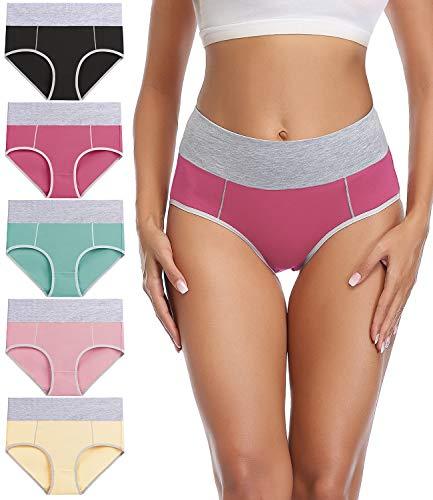 wirarpa Women's Cotton Underwear High Waist Briefs Ladies Soft Breathable Plus Size Panties Full Coverage Plus Size Underpants 5 Pack XX-Large