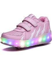 حذاء تزلج متدحرج للبنات والأولاد حذاء مزدوج الأسطوانة للأطفال في الهواء الطلق حذاء مضيء للأطفال
