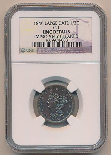 1849 P Braided Hair Half Cent Unc Details NGC