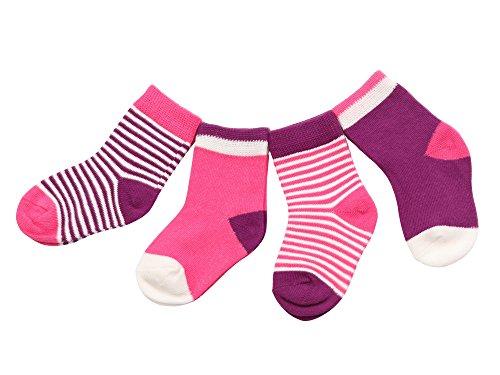 DEBAIJIA 4 Paare Babysocken Baumwolle 6-12 Monate Mädchen Junge Lieblich Socken Dünn Weich Bunt - Lila