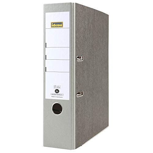 Idena 303066 - Ordner für DIN A4, 8 cm breit, Wolkenmarmor, grau, 1 Stück