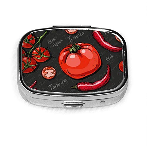 Pill Box - Customized Color Cherry Tomatoes Chili Food and Drink Pill Boxes, Portable Rectangular Metal Silver Pills Case, Compact 2 Space, Pill Cases for Travel/Pocket/Purse