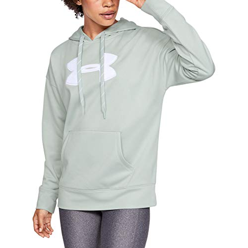 Under Armour Women's Synthetic Fleece Chenille Logo Pullover Hoodie, Atlas Green Light Heather//Onyx White, X-Small