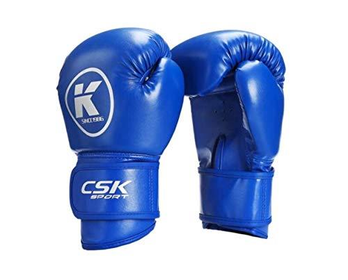 CHENTAOCS Boxhandschuhe, Muay Thai Boxhandschuhe, Sanda Handschuhe Trainingshandschuhe, Professionelle Boxhandschuhe Gelb/Schwarz/Blau/Weiß/Rot (Color : Blue, Size : 6oz)