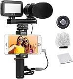 Kit de Vídeo para Smartphones V7 de Movo con Empuñadura, Micrófono Estéreo Profesional, Luz LED & Co
