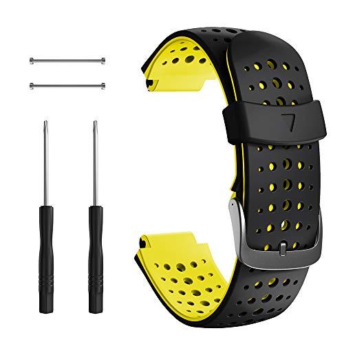 NotoCity Correa para Garmin Forerunner 235, Correa de Reloj de Silicona Suave Compatible con Garmin Forerunner 235/220/230/620/630/735 XT (Negro+Amarillo)