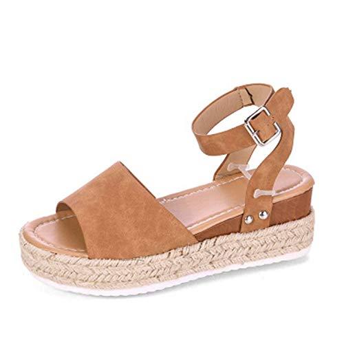 Sandalias de Punta Descubierta Mujer Moda Cuña Exterior Senderismo Movimiento Zapato para Verano Casual Elegante Roma Shoes con Hebilla Ajustable para Vacaciones,jardín,Compras,Partido