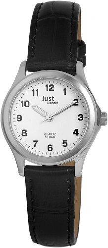 Just Just - Reloj analógico de mujer de cuarzo con correa de piel negra - sumergible a 100 metros