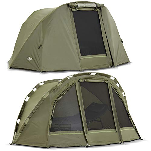 Lucx® Puma Bivvy + Winterskin/Angelzelt inkl. Überwurf/Karpfenzelt/Carp Dome + Overwrap/Zelt, 10.000mm Wassersäule Campingzelt