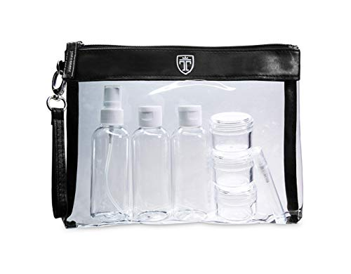 TRAVANDO Clear Toiletry Bag with 7 Bottles (max.3.38oz) | TSA Travel Set for Liquids | Transparent Zipper Bag for Cosmetics | Plastic PVC Airport Airline Security Luggage Organizer Pouch | Wash Kit