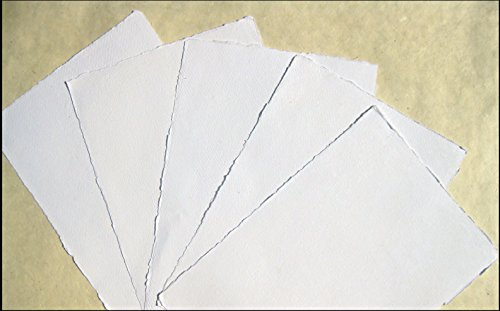 Watercolour Paper A5 Warm White 10 Sheets // Set Handmade Cotton-paper 200g // m Offwhite/² Cotton Linters Handmade Laid Paper