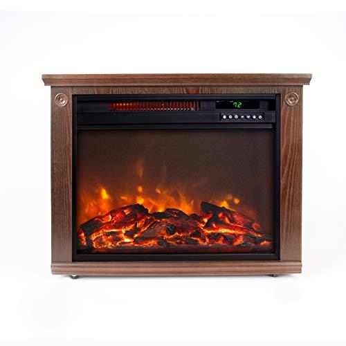 LIFE SMART Large Room Infrared Quartz Fireplace in Burnished Oak Finish w/Remote