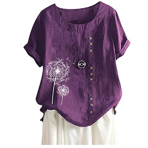 Tops Mujer Blusa Mujer Sexy Minimalista Camisa De Verano Manga Corta Suelta Gran Tamaño Impresión De Moda Ligero Y Transpirable Tela Suave Camisa De Lino B-Purple XL