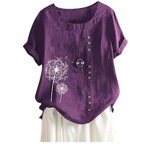 Blusa Mujer Básica Cuello Redondo Estampado Diente De León Puños Enrollados Exquisitos Botones Mujer Manga Corta Generosa Casual Personalidad Clásica Elasticidad Mujer Camisa B-Purple 3XL