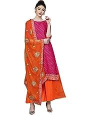 Ishin Women's Cotton a line Salwar Suit Set